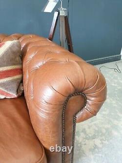 Large Thomas Lloyd Vintage Tan Leather Three Seater Chesterfield Sofa