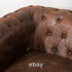 Large VINTAGE BROWN Distressed Tan Leather Chesterfield Buttoned Sofa Armchair