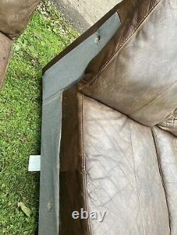 Large Vintage Brown Tan Leather Corner sofa #L