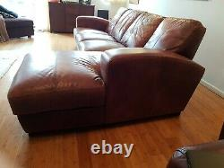 Large Vintage Tan Leather Art Deco Style Corner Sofa 3 Seater Chaise family