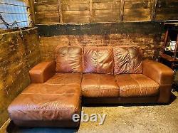 Large Vintage Tan Leather Art Deco Style Corner Sofa Three Seater Chaise Man Cav