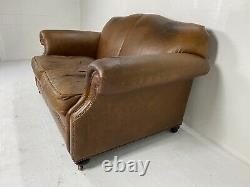 Laura Ashley Vintage Aged Tan Cigar Brown Leather Chesterfield 2 Seater Sofa