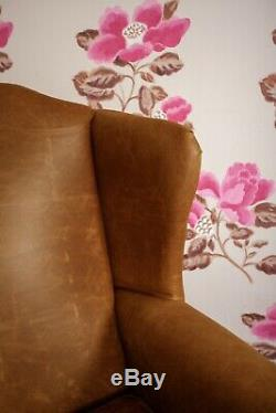Leather Armchair High Back Wing Chair & Footstool in Vintage Tan leather UK Made