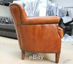 Little Professor Tub Club Chair Real Vintage Distressed Tan Brown Leather