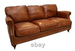 Luxury 3 Seater Vintage Distressed Tan Real Leather Sofa Settee