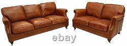 Luxury Vintage 3+2 Seater Distressed Tan Leather Settee Sofa Suite