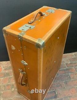 Luxury Vintage Tan Leather Wardrobe Trunk Suitcase