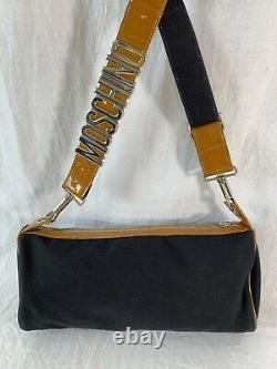 MOSCHINO Authentic Vintage Tan Patent Leather Trim and Black Canvas Shoulder Bag