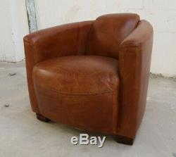 Marlborough Rocket Hudson Lounge Office Vintage Cigar Club Tub Leather Tan Chair