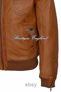Men's Bomber Leather Jacket TAN'TORNADO' VINTAGE REAL SOFT LEATHER 9265