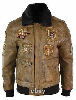 Mens Aviator Flying Pilot Bomber Jacket Vintage Tan Removable Black Fur Collar