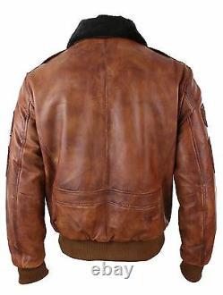 Mens Aviator Flying Pilot Bomber Jacket Vintage Washed Tan Black Fur Collar