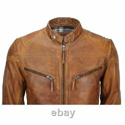 Mens Fitted Tan Brown Real Leather Biker Jacket Vintage Zipped Smart Casual Coat
