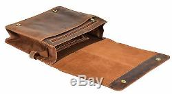 Mens Messenger Leather Bag Waxed Tan VINTAGE Laptop Office Uni Casual Record Bag