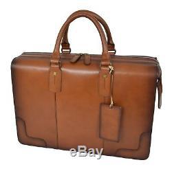 Mens Real Leather Vintage Doctor Bag Document Organiser Briefcase Tan
