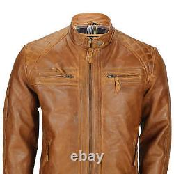 Mens Real Leather Washed Tan Rust Brown Vintage Zipped Smart Casual Biker Jacket