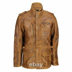 Mens Tan Brown Soft Real Leather Vintage Military Coat Smart Casual Field Jacket