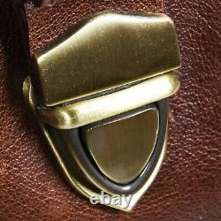 Mens Vintage Brown Tan Genuine Leather Overnight Travel Gym Duffle Luggage Bag