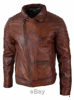 Mens Vintage Washed Tan Brown Real Leather Biker Jacket Cross Zip Retro Casual