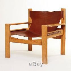 MidCentury BORGE MOGENSEN Tan Leather Pair Lounge Armchairs Vintage Retro sofa