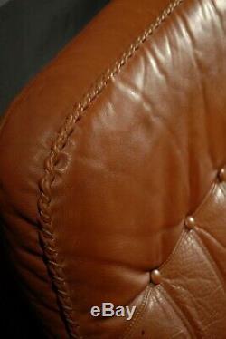 Mid Century Danish Tan Leather Sofa Oak Vintage