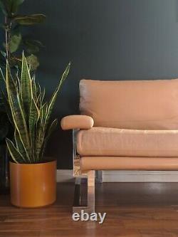 Mid Century Pieff Valentino Sofa 2-Seater Light Tan Leather Vintage Mandarin 70s