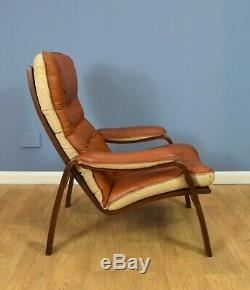 Mid Century Retro Danish Tan Leather Bentwood Lounge Armchair 1970s 2 available