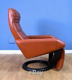 Mid Century Retro Danish Tan Leather Reclining Lounge Arm Chair by Bramin 1970s