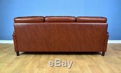 Mid Century Retro Vintage Danish Tan Brown Leather 3 Seat Sofa Settee 1960s 70s