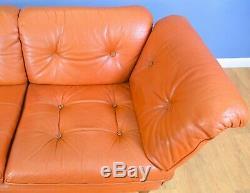 Mid Century Retro Vintage Danish Tan Leather 2 Seater Sofa Settee 1970s