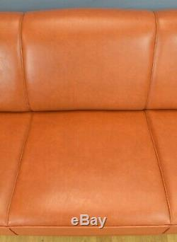 Mid Century Retro Vintage Danish Tan Leather 3 Seat Sofa Settee Couch 1970s