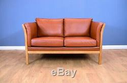 Mid Century Retro Vintage Danish Tan Leather & Beech Slatted 2 Seat Sofa Settee