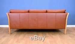 Mid Century Retro Vintage Danish Tan Leather & Beech Slatted 3 Seat Sofa Settee