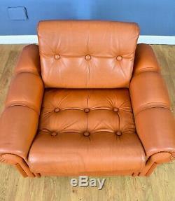 Mid Century Retro Vintage Danish Tan Leather & Chrome Lounge Arm Chair 1960s 70s