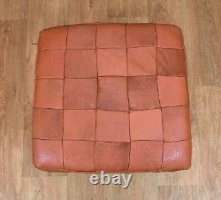 Mid Century Retro Vintage Danish Tan Leather Foot Stool Ottoman 1960s