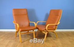 Mid Century Retro Vintage Danish Tan Leather Lounge Armchair 1970s