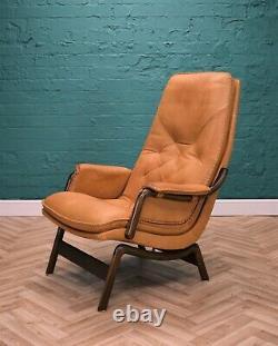 Mid Century Retro Vintage Danish Tan Leather Lounge Armchair by Berg 1970s