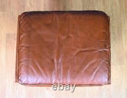 Mid Century Retro Vintage Danish Tan Leather Swivel Foot Stool Ottoman 1970s