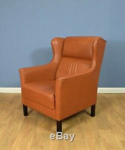 Mid Century Retro Vintage Danish Tan Leather Wingback Lounge Armchair 1970s