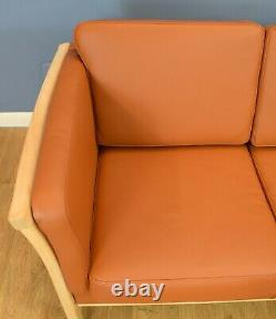 Mid Century Retro Vintage Danish Two Seat Tan Leather Sofa Settee Couch 1980S
