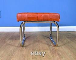 Mid Century Retro Vintage Swedish Tan Leather Foot Stool Ottoman 1970s