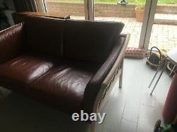 Mid Century Vintage Retro Danish Tan Brown Leather 2 Seat Sofa Settee 1960s 70s