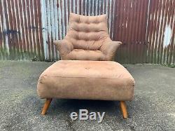 Mid century armchair and footstool tan leather, retro, vintage