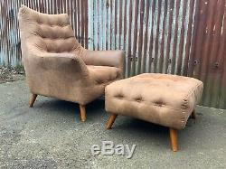 Mid century armchair and footstool tan leather, retro, vintage