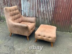 Mid century armchair and footstool tan leather, retro, vintage style