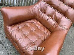 Mid century armchair, tan leather, retro, vintage