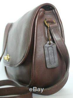 Mint COACH VINTAGE brown LEATHER CITY BAG CROSSBODY SHOULDER Flap Classic 9790
