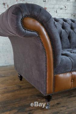 Modern 3 Seater Slate Grey Velvet & Vintage Tan Leather Chesterfield Sofa Couch
