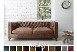 Modern Chesterfield Sofa 3 Seater Genuine Leather Settee Couch Vintage Tan Brown