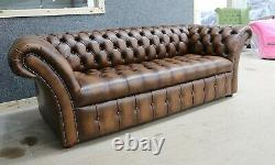 Modern Handmade Vintage Tan Leather Chesterfield Buttoned Seat 3 Seater Sofa